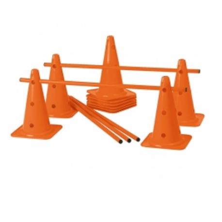 Lot de 10 cônes 12 trous 40 cm et de 5 jalons de 1m Tremblay